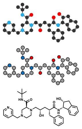 protease: Indinavir VIH mol�cula de f�rmaco. Pertenece a clase de los inhibidores de la proteasa. Estilizada representaci�n 2D y f�rmula esquel�tico convencional.