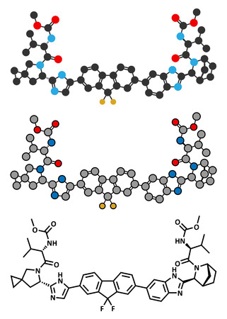 hepatitis virus: Ledipasvir hepatitis C virus (HCV) drug molecule. Stylized 2D rendering and conventional skeletal formula.