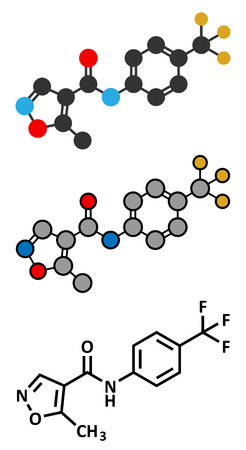 Leflunomide rheumatoid arthritis drug molecule. Stylized 2D rendering and conventional skeletal formula. Illustration