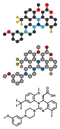 fluorine: letermovir cytomegalovirus (CMV) drug molecule. Stylized 2D rendering and conventional skeletal formula.