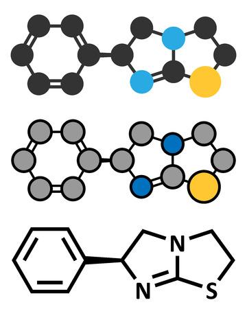 leprosy: Levamisole antihelmintic drug molecule. levorotary isomer of tetramisole. Stylized 2D rendering and conventional skeletal formula. Illustration
