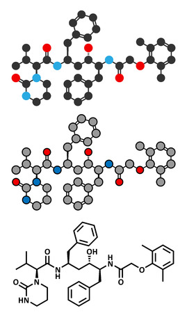 protease: Lopinavir HIV drug molecule. Protease inhibitor class antiretroviral. Stylized 2D rendering and conventional skeletal formula.
