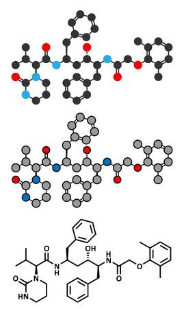 protease: Lopinavir VIH mol�cula de f�rmaco. Inhibidor de la proteasa clases de antirretrovirales. Estilizada renderizado 2D y la f�rmula del esqueleto convencional. Vectores
