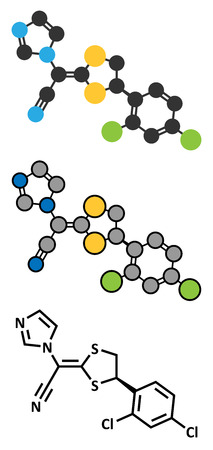 Luliconazole antifungal drug molecule. Stylized 2D rendering and conventional skeletal formula.