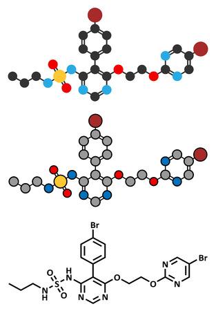 endothelial: Macitentan pulmonary arterial hypertension drug molecule. Belongs to Endothelin Receptor Antagonist class. Stylized 2D rendering and conventional skeletal formula.