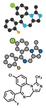 anticonvulsant: Midazolam benzodiazepine drug molecule. Has sedative, anxiolytic, amnestic, hypnotic, anticonvulsant, etc properties. Stylized 2D rendering and conventional skeletal formula.
