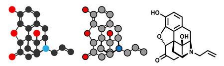 передозировка: Налоксон антагонист опиоидных рецепторов. Препарат применяют в лечении опиоидной передозировки. Стилизованный рендеринга 2D и обычных скелетных формула.
