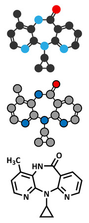 immunodeficiency: Nevirapine HIV drug molecule. Belongs to NNRTI class. Stylized 2D rendering and conventional skeletal formula.