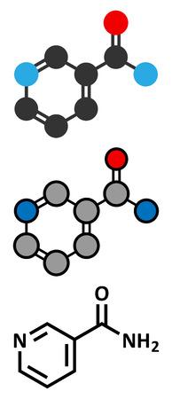 Nicotinamide drug and vitamin molecule. Stylized 2D rendering and conventional skeletal formula. Illustration