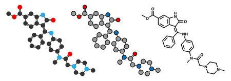 endothelial: Nintedanib cancer drug molecule. Angiogenesis inhibitor. Stylized 2D rendering and conventional skeletal formula.