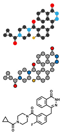 polymerase: Olaparib cancer drug molecule. Inhibitor of PARP (poly ADP-ribose polymerase). Stylized 2D rendering and conventional skeletal formula.