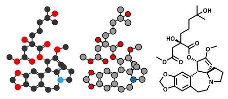 elongacion: Omacetaxina mepesuccinate mol�cula de medicamento contra el c�ncer. Se utiliza en el tratamiento de la leucemia miel�gena cr�nica (LMC). Estilizada renderizado 2D y la f�rmula del esqueleto convencional. Vectores