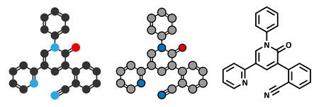 seizures: Perampanel epilepsy drug molecule. Used in treatment of seizures. Stylized 2D rendering and conventional skeletal formula. Illustration