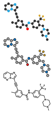 leucemia: Ponatinib mol�cula de medicamento contra el c�ncer. Inhibidor de la tirosina quinasa usa en el tratamiento de la leucemia mieloide cr�nica (LMC) y leucemia linfobl�stica aguda (LLA). Estilizada renderizado 2D y la f�rmula del esqueleto convencional.