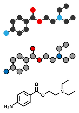 topical: Procaine topical anesthetic drug molecule. Stylized 2D rendering and conventional skeletal formula. Illustration