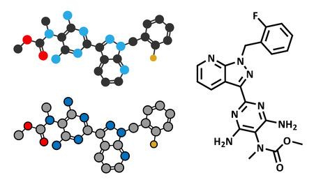 Riociguat pulmonary hypertension (PH) drug molecule. Stimulator of soluble guanylate cyclase (sGC). Stylized 2D rendering and conventional skeletal formula.