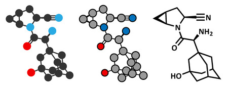 inhibitory: Saxagliptin diabetes drug molecule. Inhibitor of dipeptidyl peptidase-4 (DPP4). Stylized 2D rendering and conventional skeletal formula. Illustration