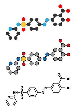 bowel: Molecola farmaco Sulfasalazine. Usato nel trattamento dell'artrite reumatoide e malattie infiammatorie intestinali (morbo di Crohn e colite ulcerosa). Il rendering 2D stilizzato e formula scheletrico convenzionale.