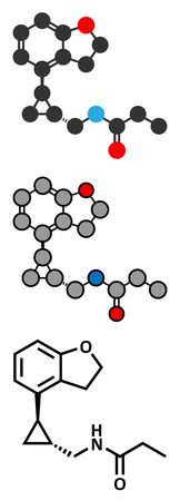 Tasimelteon sleep disorder drug molecule. Stylized 2D rendering and conventional skeletal formula. Vector
