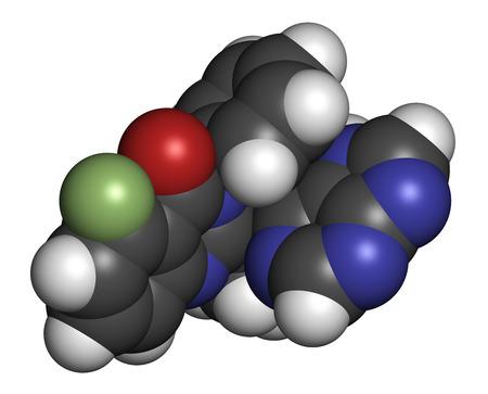 kinase: Idelalisib leukemia drug molecule. Inhibitor of phosphoinositide 3-kinase (PI3K). Atoms are represented as spheres with conventional color coding: hydrogen (white), carbon (grey), oxygen (red), nitrogen (blue), fluorine (light green).