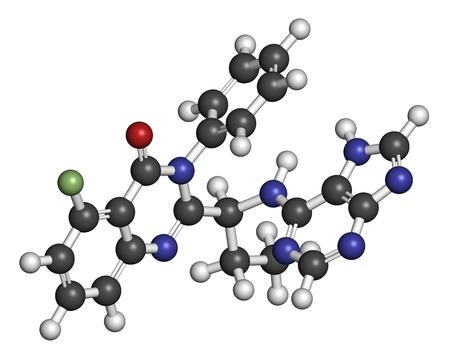 leucemia: Idelalisib mol�cula de f�rmaco leucemia. Inhibidor de phosphoinositide 3-quinasa (PI3K). Los �tomos se representan como esferas con codificaci�n de colores convencionales: hidr�geno (blanco), carbono (gris), ox�geno (roja), nitr�geno (azul), fl�or (verde claro).