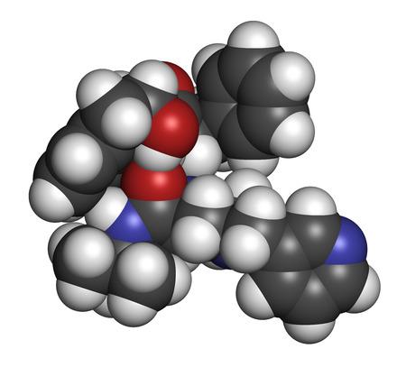 protease: Indinavir VIH mol�cula de f�rmaco. Pertenece a clase de los inhibidores de la proteasa. Los �tomos se representan como esferas con codificaci�n de colores convencionales: hidr�geno (blanco), carbono (gris), ox�geno (roja), nitr�geno (azul).