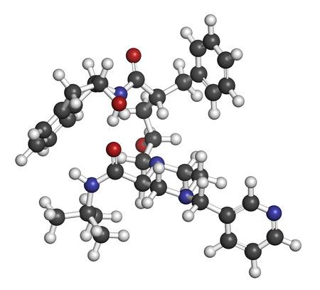 protease: Indinavir VIH mol�cula de f�rmaco. Pertenece a clase de los inhibidores de la proteasa. Los �tomos se representan como esferas con codificaci�n de colores convencionales: hidr�geno (blanco), carb�n (gris), ox�geno (rojo), nitr�geno (azul). Foto de archivo