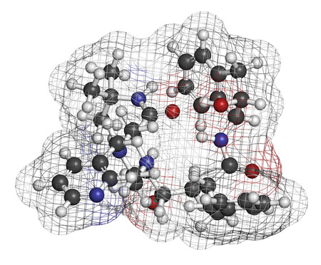 protease: Indinavir HIV drug molecule. Belongs to protease inhibitor class. Atoms are represented as spheres with conventional color coding: hydrogen (white), carbon (grey), oxygen (red), nitrogen (blue). Stock Photo