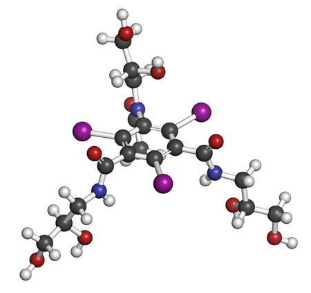 iodine: Iohexol contrast agent molecule. Used in coronary angiography procedures. Atoms are represented as spheres with conventional color coding: hydrogen (white), carbon (grey), oxygen (red), nitrogen (blue), iodine (purple).