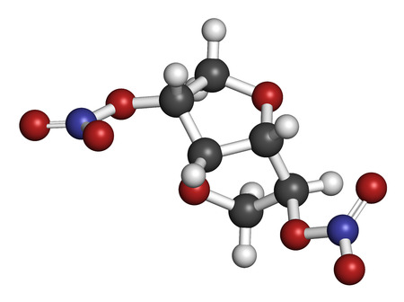 isdn: Isosorbide dinitrate (ISDN) vasodilator drug molecule. Used in treatment of heart related chest pain. Atoms are represented as spheres with conventional color coding: hydrogen (white), carbon (grey), oxygen (red), nitrogen (blue).
