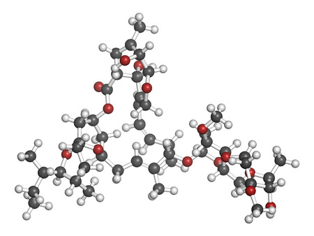 Ivermectin antiparasitic drug molecule. Used in treatment of river blindness, scabies, head lice, etc. Atoms are represented as spheres with conventional color coding: hydrogen (white), carbon (grey), oxygen (red). 版權商用圖片