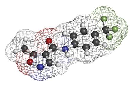 antirheumatic: Leflunomide rheumatoid arthritis drug molecule. Atoms are represented as spheres with conventional color coding: hydrogen (white), carbon (grey), oxygen (red), nitrogen (blue), fluorine (light green).