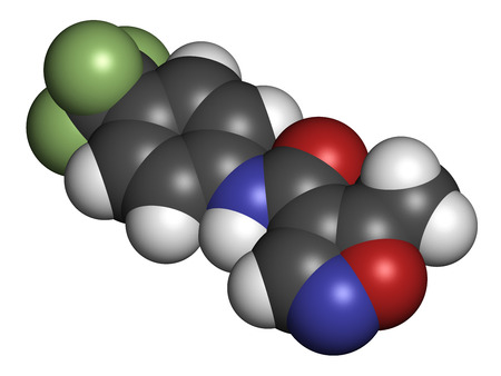 immunosuppressive: Leflunomide rheumatoid arthritis drug molecule. Atoms are represented as spheres with conventional color coding: hydrogen (white), carbon (grey), oxygen (red), nitrogen (blue), fluorine (light green).
