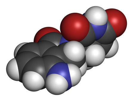 myeloma: Lenalidomide multiple myeloma drug molecule. Atoms are represented as spheres with conventional color coding: hydrogen (white), carbon (grey), oxygen (red), nitrogen (blue). Stock Photo