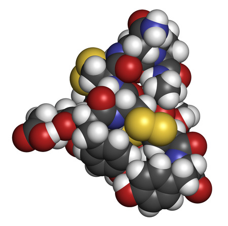 Linaclotide irritable bowel syndrome drug molecule. Atoms are represented as spheres with conventional color coding: hydrogen (white), carbon (grey), oxygen (red), nitrogen (blue), sulfur (yellow).
