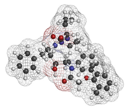protease: Lopinavir HIV drug molecule. Protease inhibitor class antiretroviral. Atoms are represented as spheres with conventional color coding: hydrogen (white), carbon (grey), oxygen (red), nitrogen (blue). Stock Photo