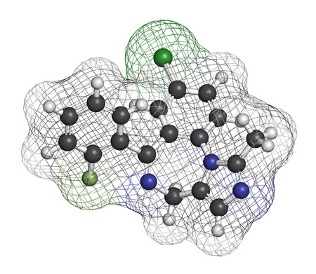 anticonvulsant: Midazolam benzodiazepine drug molecule. Has sedative, anxiolytic, amnestic, hypnotic, anticonvulsant, etc properties. Atoms are represented as spheres with conventional color coding: hydrogen (white), carbon (grey), nitrogen (blue), chlorine (green), fluo