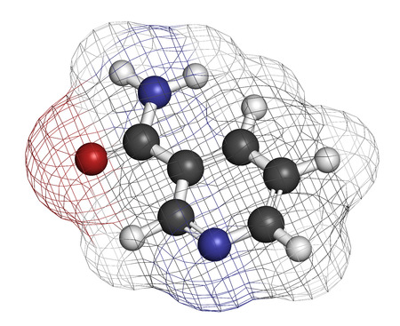 nicotinic: Nicotinamide drug and vitamin molecule. Atoms are represented as spheres with conventional color coding: hydrogen (white), carbon (grey), oxygen (red), nitrogen (blue).
