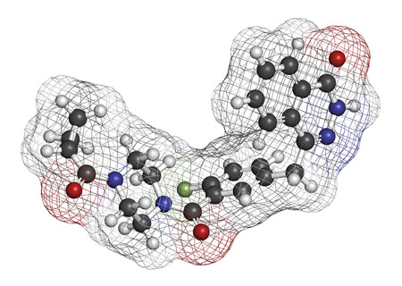 chemotherapeutic: Olaparib cancer drug molecule. Inhibitor of PARP (poly ADP-ribose polymerase). Atoms are represented as spheres with conventional color coding: hydrogen (white), carbon (grey), oxygen (red), nitrogen (blue), fluorine (light green).