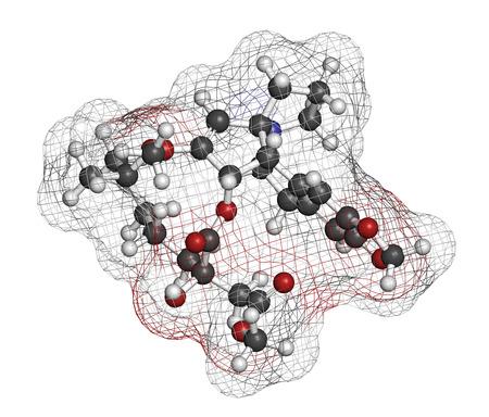 elongacion: Omacetaxina mepesuccinate mol�cula de medicamento contra el c�ncer. Se utiliza en el tratamiento de la leucemia mieloide cr�nica (LMC). Los �tomos se representan como esferas con codificaci�n de colores convencionales: hidr�geno (blanco), carb�n (gris), ox�geno (rojo), nitr�geno (azul).