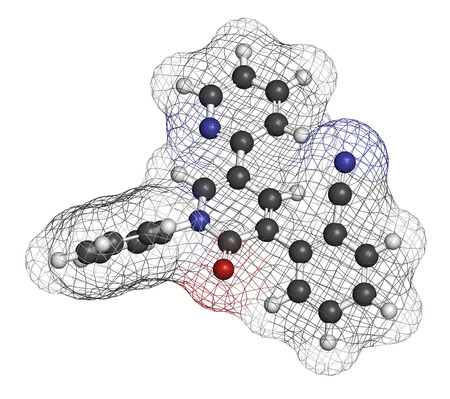 seizures: Perampanel epilepsy drug molecule. Used in treatment of seizures. Atoms are represented as spheres with conventional color coding: hydrogen (white), carbon (grey), oxygen (red), nitrogen (blue).