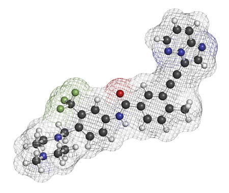 kinase: Ponatinib cancer drug molecule. Tyrosine kinase inhibitor used in treatment of chronic myeloid leukemia (CML) and acute lymphoblastic leukemia (ALL). Atoms are represented as spheres with conventional color coding: hydrogen (white), carbon (grey), oxygen