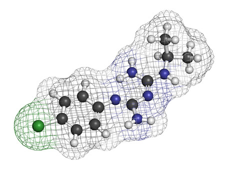 plasmodium: Proguanil prophylactic malaria drug molecule. Atoms are represented as spheres with conventional color coding: hydrogen (white), carbon (grey), chlorine (green), nitrogen (blue).