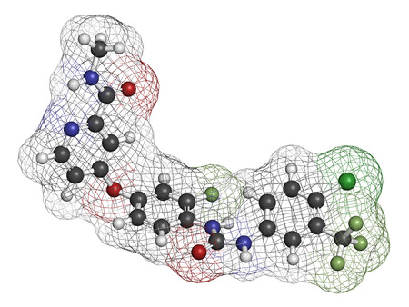 Regorafenib cancer drug molecule. Atoms are represented as spheres with conventional color coding: hydrogen (white), carbon (grey), oxygen (red), nitrogen (blue), chlorine (green), fluorine (light green). Stock fotó