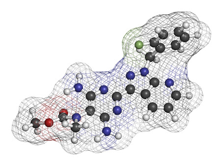 guanosine: Riociguat pulmonary hypertension (PH) drug molecule. Stimulator of soluble guanylate cyclase (sGC). Atoms are represented as spheres with conventional color coding: hydrogen (white), carbon (grey), oxygen (red), nitrogen (blue), fluorine (light green).