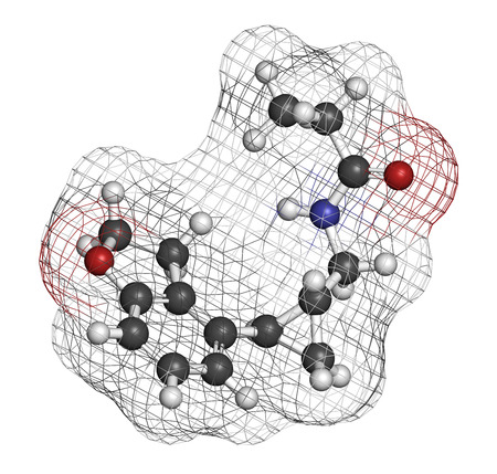 Tasimelteon sleep disorder drug molecule Atoms are represented as spheres with conventional color coding: hydrogen (white), carbon (grey), oxygen (red), nitrogen (blue). photo