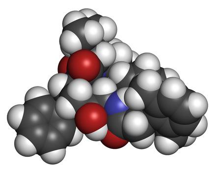 protease: Lopinavir VIH mol�cula de f�rmaco. Inhibidor de la proteasa clases de antirretrovirales. Los �tomos se representan como esferas con codificaci�n de colores convencionales: hidr�geno (blanco), carb�n (gris), ox�geno (rojo), nitr�geno (azul).
