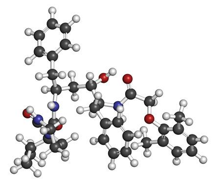 protease: Lopinavir VIH mol�cula de f�rmaco. Inhibidor de la proteasa clase antirretroviral. Los �tomos se representan como esferas con codificaci�n de colores convencionales: hidr�geno (blanco), carbono (gris), ox�geno (roja), nitr�geno (azul).
