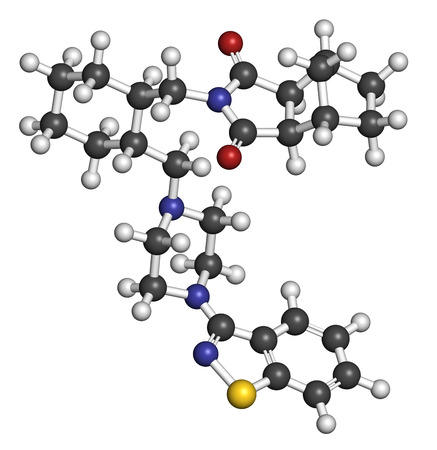 atypical: Lurasidone atypical antipsychotic drug molecule. Atoms are represented as spheres with conventional color coding: hydrogen (white), carbon (grey), oxygen (red), nitrogen (blue), sulfur (yellow).