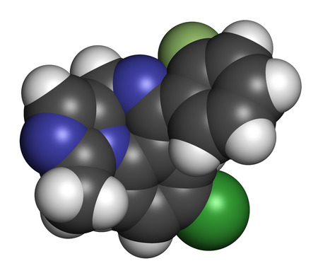 benzodiazepine: Midazolam benzodiazepine drug molecule. Has sedative, anxiolytic, amnestic, hypnotic, anticonvulsant, etc properties. Atoms are represented as spheres with conventional color coding: hydrogen (white), carbon (grey), nitrogen (blue), chlorine (green), fluo